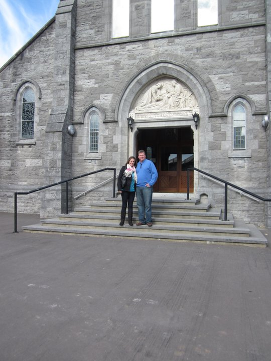My dad and I outside the church where my grandparents were married